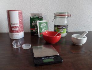 Zutaten für selbst gemachte Zahnpasta